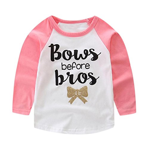 Coper Lovely Toddler Baby Boys Girls Long Sleeve Letter Print T-Shirt Outfits (Pink, 3T)
