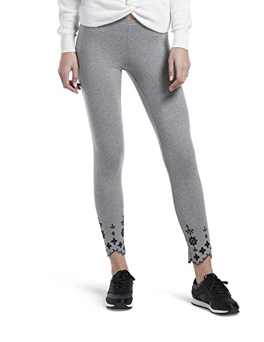 HUE Women's Plus Size Fashion Cotton Skimmer Leggings, Assorted, Embroidered Hem/Gray Heather, 2X