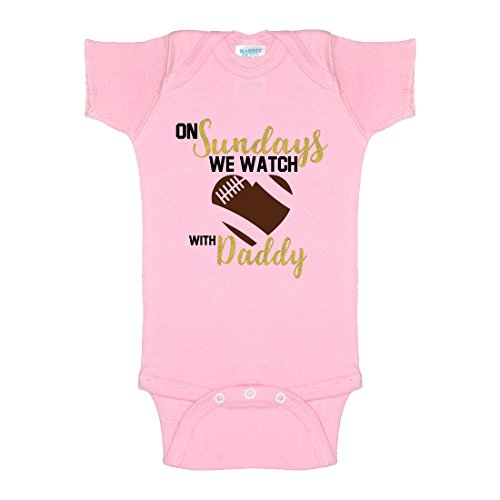 Price comparison product image On Sundays We Watch Football With Daddy Glitter One-Piece Baby Onesie Bodysuit