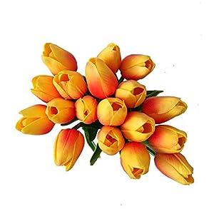 20PCS/Set PU Tulip Flower Real Touch Artificial Silk Flowers Arrangement Bouquet Home Room Office Wedding Party Decor 3