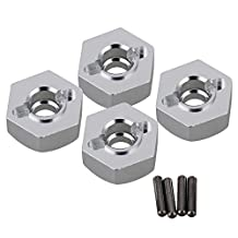 Mxfans 4pcs Aluminum Alloy 12x5mm Mount Wheel Hex Hub CC01-005 for TAMIYA CC01 4WD RC 1/10 Silver