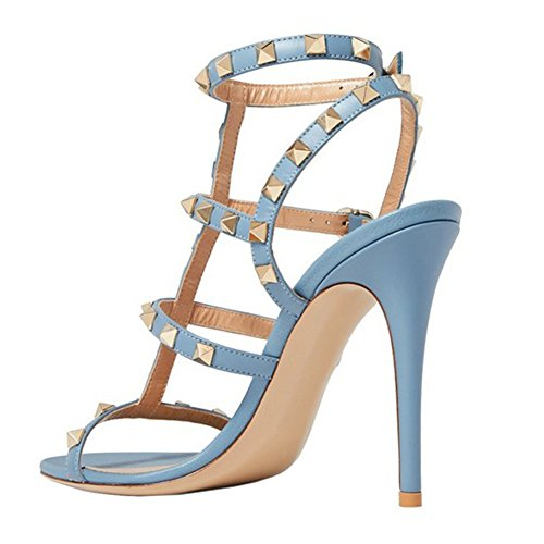 Open Dress matte Ankle Women's Sandals Strappy Studded Toe Stilettos Strap Blue Heels VOCOSI High RaBHwqHvx8