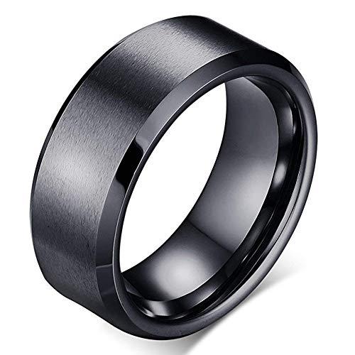 Anyasun 8MM Titanium Steel Rings Beveled Edge Rings for Men & Women for Lovers (Black, 9)