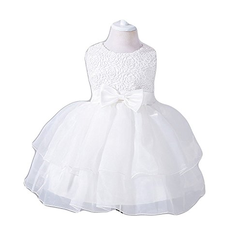FKKFYY 0-24 Months Baby Flower Girl Dress Kids Ruffles Lace Party Wedding Dresses