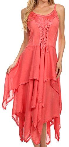 Sakkas 9031 Lady Mary Jacquard Corset Style Bodice Lightweight Handkerchief Hem Dress - Coral - One (Women In The Renaissance)