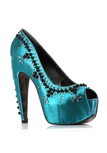 Ellie Shoes E-BP575-Cordelia 5.5 Heel 1.75 Platform Satin & Beads Peep-Toe Pump Turquoise s5QV3S
