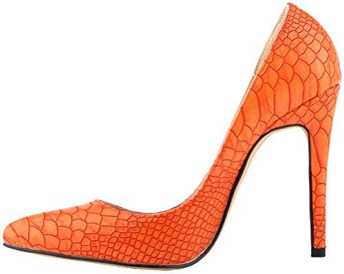 Salabobo Womens Sexy Wedding OL Night club Party Pointed Toe Stiletto PU Pumps Orange gYqaT4