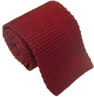 Burgundy Silk Knitted Tie by Michelsons