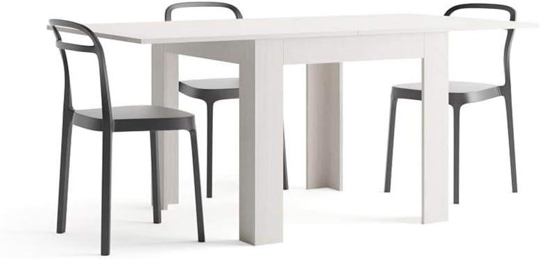 Oferta amazon: Mobili Fiver, Mesa Extensible, Modelo Eldorado, Color Fresno Blanco, 90 x 90 x 79 cm, Made in Italy