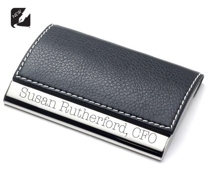 personalized black leather magnetic card holder engraved free - Magnetic Card Holder