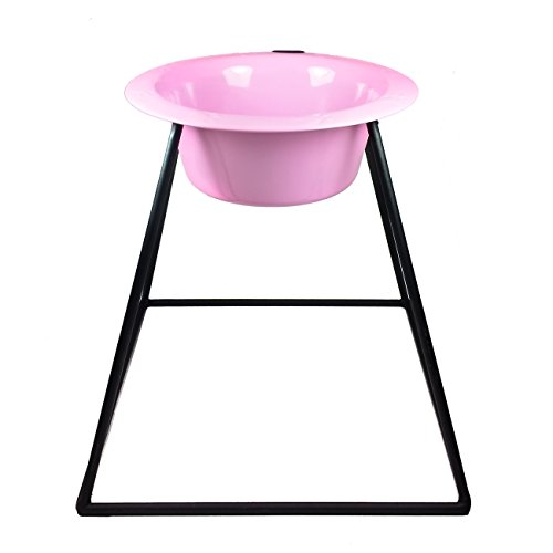 Platinum Pets Pyramid Single Diner Stand with 2-Cup Wide Rimmed Bowl, Cotton Candy Pink