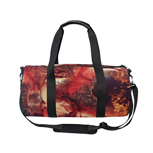 bolsa deportiva para gimnasio con diseño de dragones rojos, equipaje de viaje para hombres y mujeres