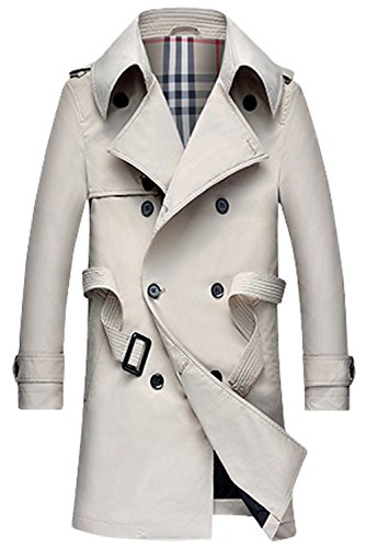 Lende Men's  Slim Double Breasted Trench Coat Long Jacket Overcoat Outwear (Leisure Suits For Sale)
