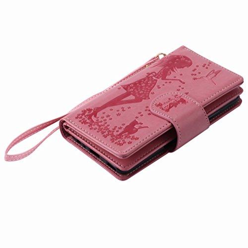 Yiizy Huawei P10 Funda, Chica Repujado Diseño Solapa Flip Billetera Carcasa Tapa Estuches Premium PU Cuero Cover Cáscara Bumper Protector Slim Piel Shell Case Stand Ranura para Tarjetas Estilo (Rosa)