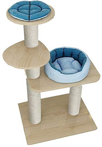 FTFDTMY Großer Katzenkäfig, Massivholz Katzenhaus Sprungplattform Haushalt Katzenspielzeug Katzenmöbel Sisal Kratzbaum (Größe: 40 * 60 * 110 cm)