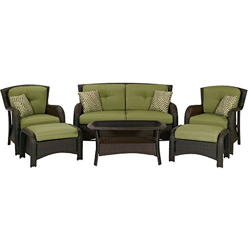 Hanover Strathmere 6-Piece Patio Seating Set (Patio Deep Seating Sets)
