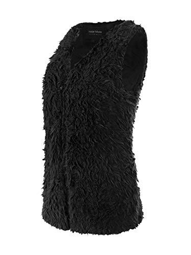 Instar Mode Women's Fluffy Warm Faux Fur Lightweight Long Vest Black M