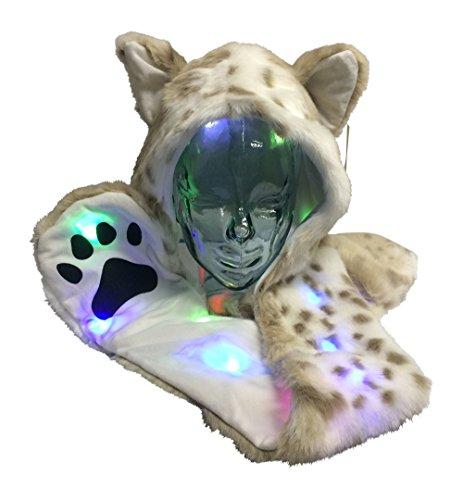 Light Up LED Color Changing Rave Spirit Animal Fluffy Fur Hat Hood (Snow Leopard)]()