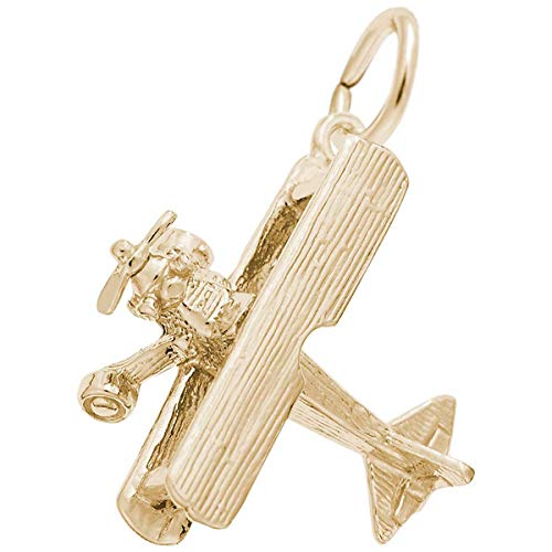 Rembrandt Charms Bi-Plane Charm, Gold Plated Silver