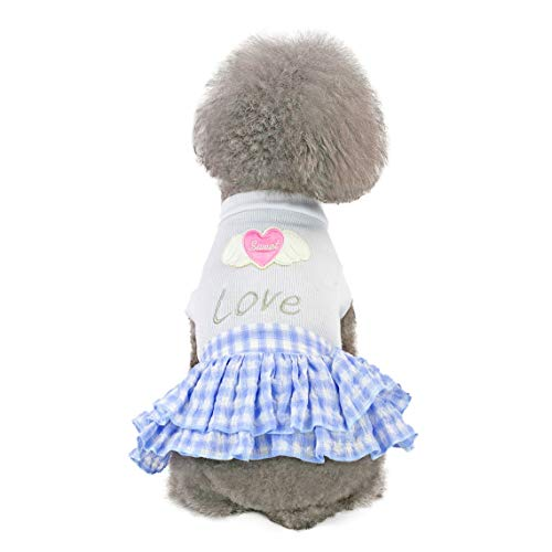 (Yellsong-Dog Love Plain Plaid Skirt Shirts Pet Puppy T-Shirt Clothes Outfit Apparel Coats Tops)