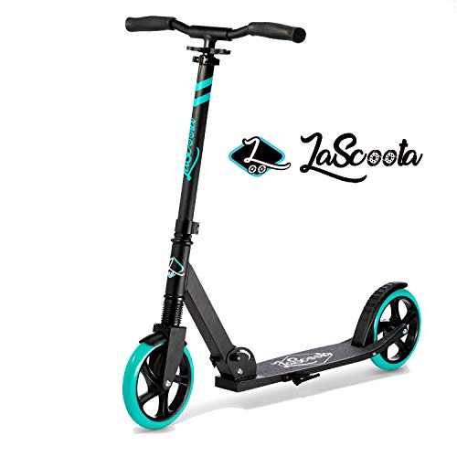"Lascoota Scooters for Kids 8 Years and up - Quick-Release Folding System - Dual Suspension System + Scooter Shoulder Strap 7.9"" Big Wheels Great Scooters for Adults and Teens (Aqua, Kids/Adult)"