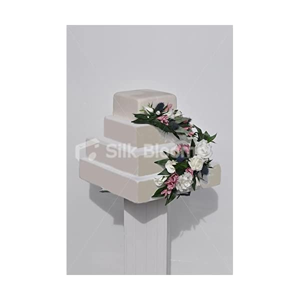 Silk Blooms Ltd Fairytale White and Ivory Rose Cake Topper w/Pink Freesia