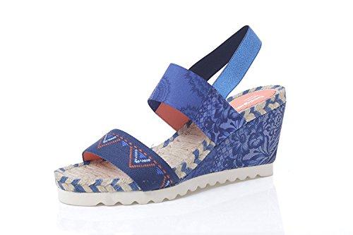 Bleu Desigual Compensées Ibiza Beach Sandales Denim XPxZPwUqR