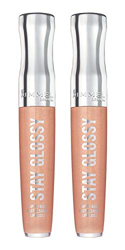 Rimmel Stay Glossy 6HR Lip Gloss, Non-Stop Glamour, 0.18 Fl Oz (Pack of 2)