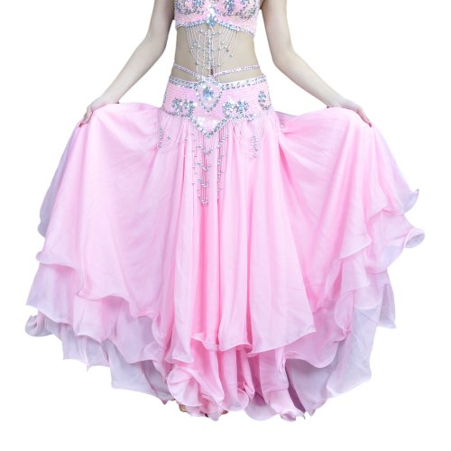 BellyLady Belly Dance Skirt Halloween Tribal Chiffon Tiered Maxi Full Skirt-Pink]()