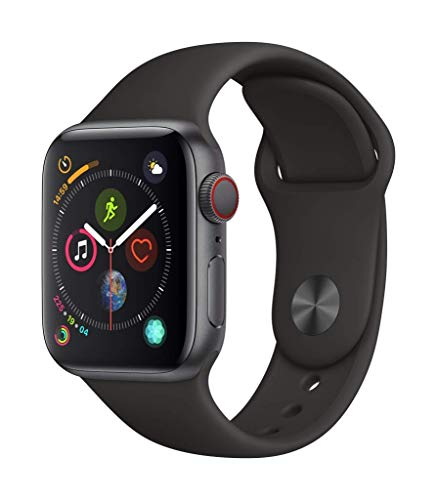 Apple Watch Series 4 (GPS + Cellular) (Renewed) (Black Sport, 44mm) (Nike Gps Watch Band)