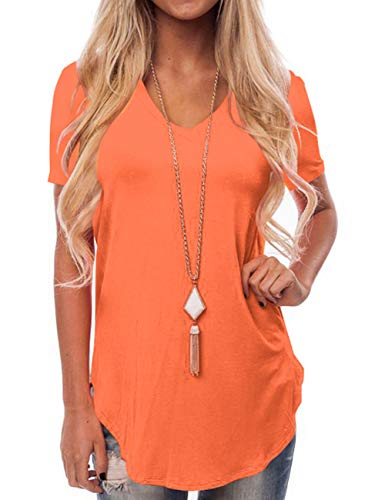 NIASHOT Women's Short Sleeve V-Neck Loose Casual Tee T-Shirt Tops