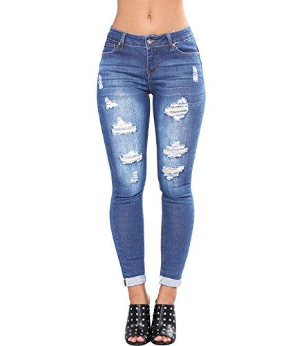 Tengo Womens Slim Denim Pants Juniors Girls Stretchy Distressed Skinny Jeans
