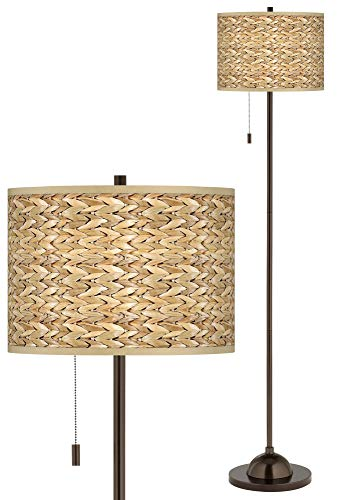 Seagrass Print Pattern Giclee Glow Bronze Club Floor Lamp - Giclee Glow ()