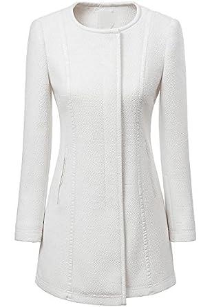 7df4910ec5c67 Manteau Femmes blanc col rond manches longues Slim Trench  Amazon.fr ...