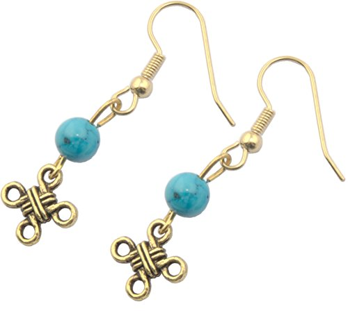 Earrings, Celtic Knot Antique Goldcolor with Turquoise Magnesite Gemstone Dangle Earrings + FREE GIFT BAG ()