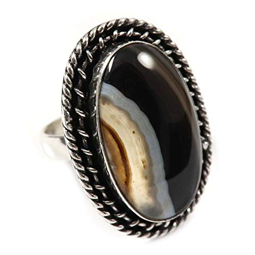 GoyalCrafts Natural Banded Agate Ring Silver Plated Jewelry US9.25 GRK58