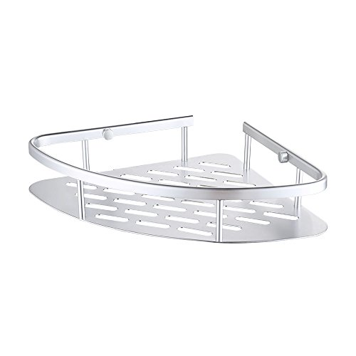 KES A4022A Tub and Shower Large Corner Basket Wall Mount, Aluminum (Triangle Soap Lotion)