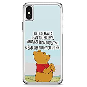 Loud Universe Pooh The bear quote iPhone X Case Brave Pooh Motivation iPhone X Cover with Transparent Edges