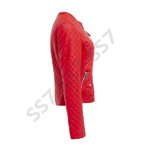 para SS7 Chaqueta Rojo Biker mujer BFqw1EF