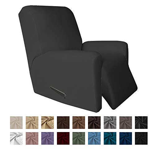 Easy-Going 4 Pieces Microfiber Stretch Recliner Slipcover - Spandex Soft Fitted Sofa Couch Cover, Washable Furniture Protector with Elastic Bottom for Kids,Pet (Recliner,Gray
