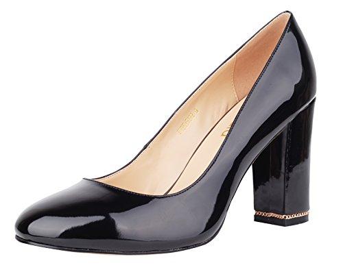 les fêtes le femmes B simple Pointu épais de Black verocara Silhouette Bureau pour robe Chain Pompes Bout talon et haute 7wxOqZ4f
