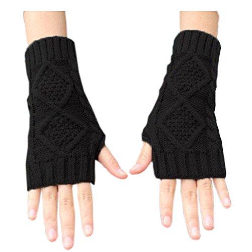 Novawo Women's Hand Crochet Winter Warm Fingerless Arm Warmers Gloves, Black