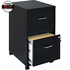 "14.3"" x 18"" x 24.5"" - 2 x drawers) for file - locking drawer, pull handle, casters, glide suspension - Black, chrome - baked enamel - steel - recycled - assembly required."