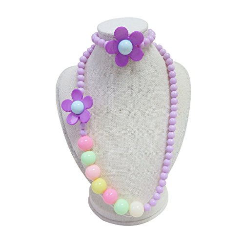 Price comparison product image 2 Colors Kids Girls Necklace and Bracelet set Butterfly Charm Fashion Party Favor Jewelry Pendant Necklace with Gift Box for children purple