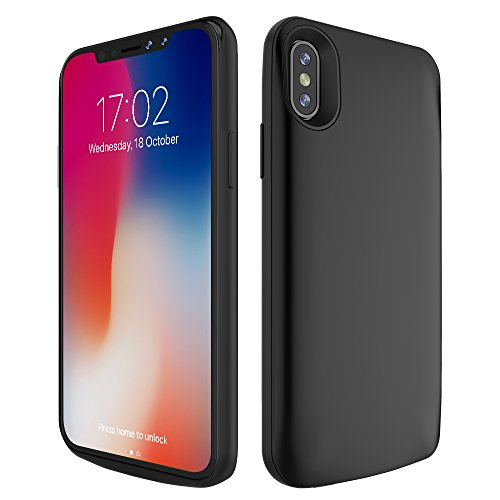 iPhone X Battery Case 6000mAh, Rechargeable External Battery Portable Power Charger Protective Charging Case for Apple iPhone X/ 10 (5.8 Inch) (Black)