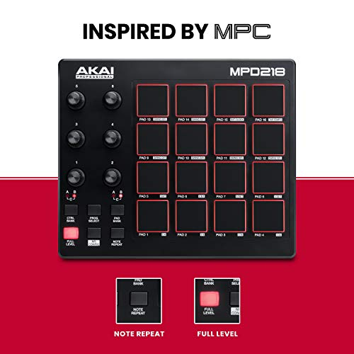 AKAI Professional MPD218 | Ultra Portable USB Bus Powered 16 Pad USB/MIDI Pad Controller