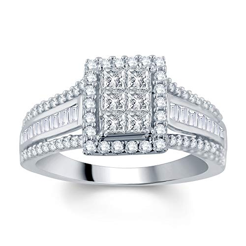 DiamondMuse 10K Gold 1.00 Carat Princess, Round and Baguette Diamond Engagement Ring (I-J, I2-I3)
