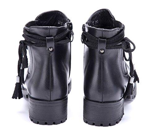 Schuhtempel24 Damen Schuhe Klassische Stiefeletten Stiefel Boots Blockabsatz Zierschleife 4 cm Schwarz