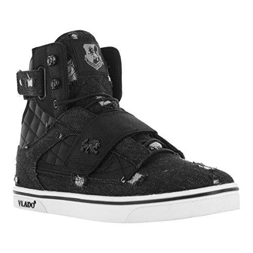 Vlado Schoeiselmensen Van Atlas 2 Canvas & Denim Marine / Bruine Hoge Top Sneakers Zwarte Denim