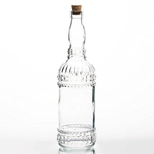 (Richland Patterned Glass Bottle with Cork Set of 12)